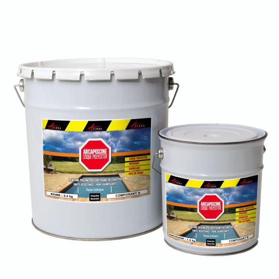 Peinture piscine polyuréthane pour coques polyester, béton, carrelage - ARCAPISCINE COQUE POLYESTER