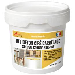 KIT BETON CIRE SUR CARRELAGE GRANDE SURFACE - Béton ciré haute protection sur carrelage